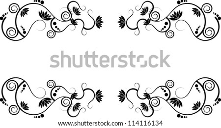 Abstract lotus swirly text border