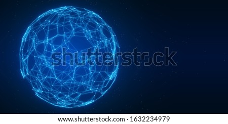 Abstract low-poly technology background of global telecommunication network connection for Internet of Things (IoT), big data science, fintech or Artificial Intelligence (AI), 3D connected sphere