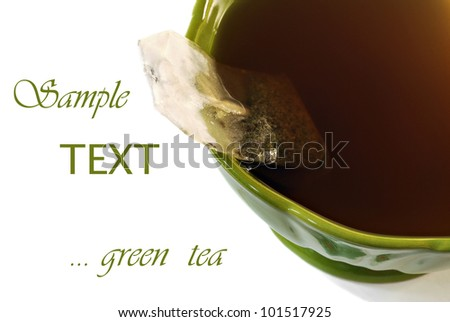 Abstract macro of green teacup with freshly brewed green tea and teabag  (as seen from above) on white background with copy space.