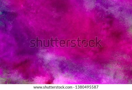 Abstract magenta paper texture water color painted illustration. Colorful fuchsia neon paper textured aquarelle canvas for modern creative design. Bright light pink ink watercolor on black background