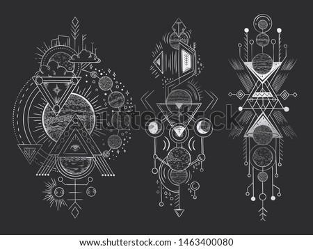 Abstract magical tattoo. Sacred geometric moon, mystic revelation arrows lines and mysticism harmony hand drawn. Illuminati or masonic tatoo, alchemy esoteric paranormal occult  illustration
