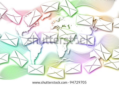 Abstract Mail communication on World Map background.