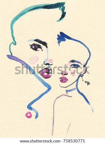 abstract man and woman. watercolor painting. fashion illustration