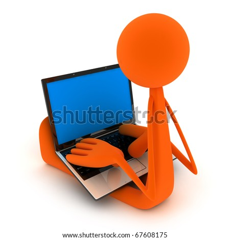 Abstract man sit the laptop (isolated, done in 3d)