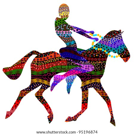 abstract man sitting on the backs of wild horses in ethnic style