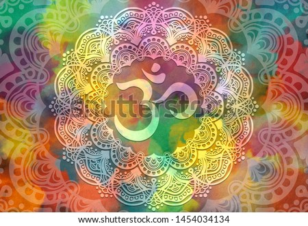 Abstract mandala graphic design and diwali om hinduism symbol with watercolor digital painting for decorative elements backgrounds  Stockfoto ©