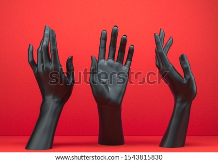 Abstract mannequin body parts, Black open palm elegant gesture set, female hand sculpture, art fashion concept, 3d rendering, stock photo