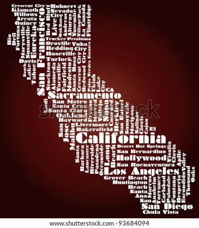 abstract map of California state - word cloud