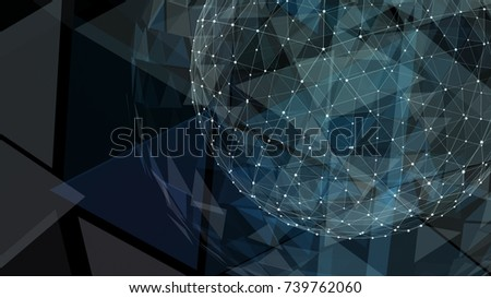 Abstract map of the global telecommunications network. 3d illustration