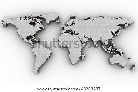 Abstract map, white colour (done in 3d, isolated)