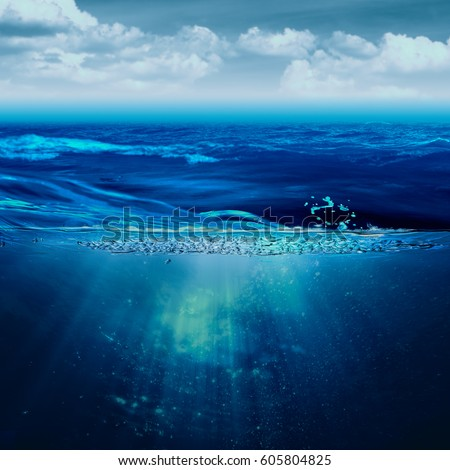 Abstract marine backgrounds with stormy ocean and underwater view #605804825