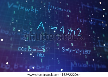 Abstract math formulas on a blue background. Education concept. 3D Rendering