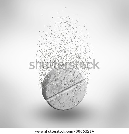 Abstract medicine tablet pill in a water with bubbles isolated on white background. 3d Illustration. Close-up