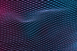 Abstract mesh net background with colorful ultraviolet holographic neon lights. Creative concept.