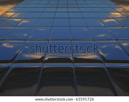Abstract metal wall against cloudy sky