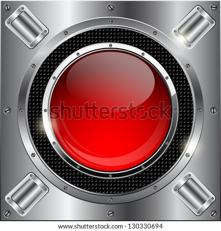 Abstract metallic background with glass button. Raster version of vector illustration.