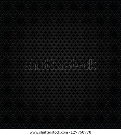 Abstract metallic black perforation textured template on black background. Vector version also available