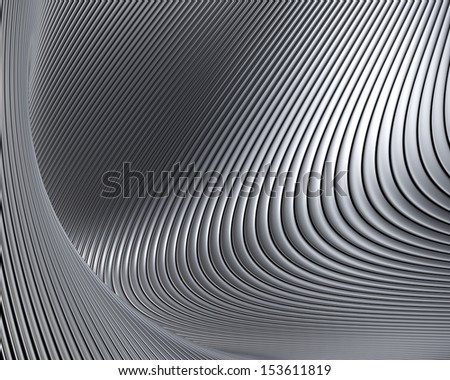Abstract metallic shapes background. Beautiful metal curves luxury wallpaper