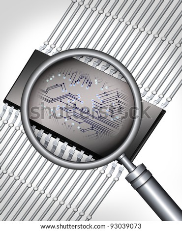 abstract microchip with magnifying glass