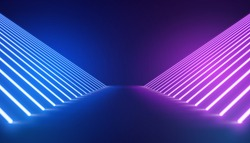 Abstract Minimal Background Glowing Lines blue and purple Neon Lights Virtual Reality room - Image