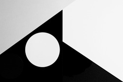 Abstract minimal geometric shape black gray white color paper background