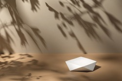 Abstract minimal nature scene - empty stage and polygonal podium on beige background and soft shadows of tree leaves. Pedestal for cosmetic product and packaging mockups display presentation