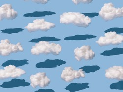 Abstract minimal patters made with clouds on pastel blue backgorund. Sky and cloud background.