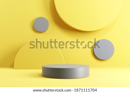 Abstract minimal scene with geometric forms. Cylinder podium stage in yellow and grey backgrounds. for show product presentation 2021, mock up, 3d render.
