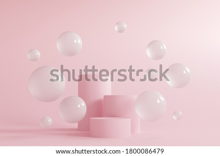 Abstract minimal scene with geometrical forms. Cylinder podiums in cream pink colors. Abstract background. Scene to show cosmetic podructs. Showcase, display case. 3d render.