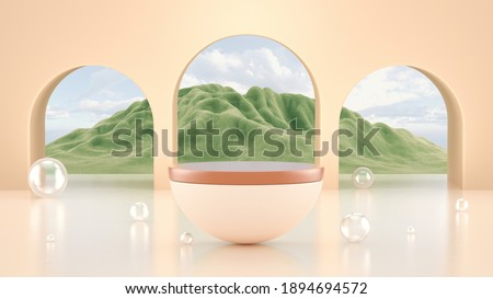 Abstract minimal scene with podium display. Pastel podium with mountains veiw. Cosmetics or beauty product promotion mockup. Abstract minimalist pedestal for perfume presentation. 3d rendering. Сток-фото ©