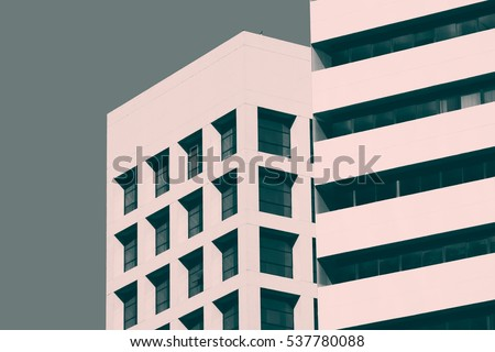Abstract minimal style architecture background. Modern building facade detail. Retro colors stylization