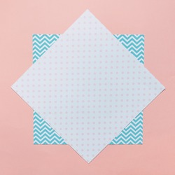 abstract minimal texture background with abstract colorful papers, geometric pattern and polka dots print. flat lay, top view.