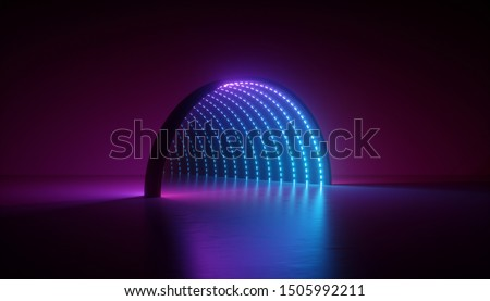 abstract minimal ultraviolet background, 3d render of geometric shape, round arch, tunnel, corridor, blue led, neon light, stage design, floor reflection
