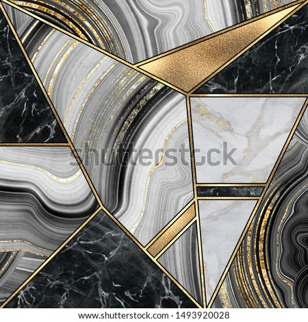abstract minimalist art deco background, modern mosaic inlay, texture of marble granite agate and gold, artistic painted marbling, artificial stone, marbled tile surface, fashion marbling illustration