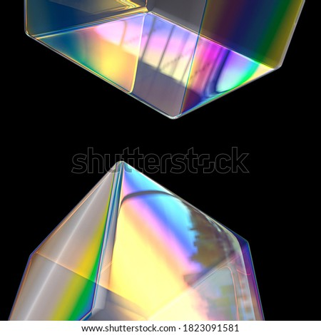 Abstract minimalist geometric design elements, art holographic transparent gradient, modern futuristic poster, dispersion and iridescent effect 3d rendering