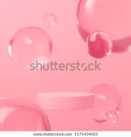Abstract mock up scene minimal concept pink color with geometry shape podium background for product presentation. 3d rendering