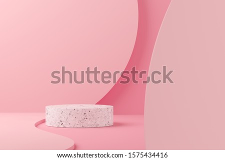 Abstract mock up scene minimal concept pink color with terrazzo geometry shape podium background for product presentation. 3d rendering