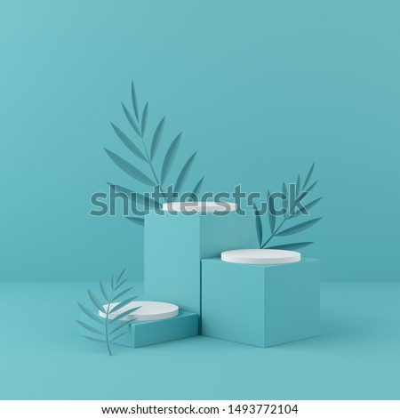 Abstract mock up scene. pastel geometry shape podium and background. 3d rendering