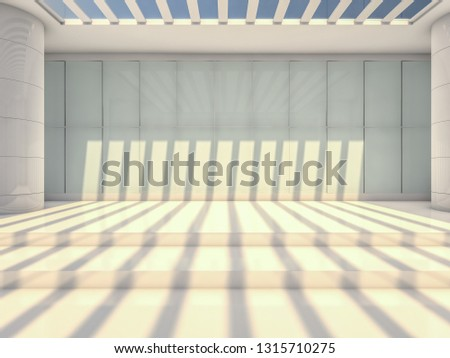 Abstract modern architecture background, empty open space interior. 3D rendering #1315710275