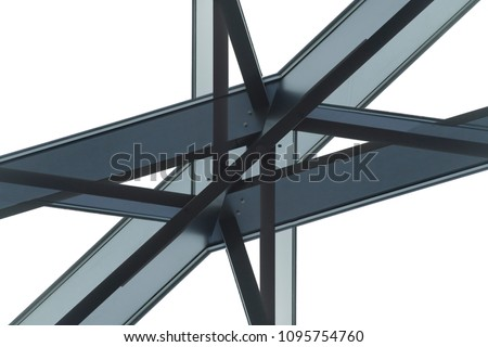 Abstract modern architecture close-up photo featuring supporting structure of glass  facade, wall, ceiling or roof. Fragment of an office / public building isolated on white background. #1095754760