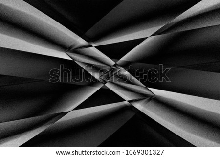 Abstract modern architecture. Girders of minimalist building viewed in darkness through refraction prism. Contrast black and white chiaroscuro photo with distortion effect.