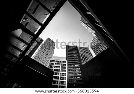 Abstract modern architecture with high contrast black and white tone #568015594