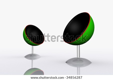 abstract modern chairs, metal futuristic chairs, green concept, modern home, futuristic house, sphere shape chairs, modern office chairs, modern chairs in a white room