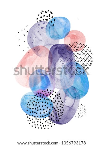 Abstract modern composition. Watercolor elements background. Hand painted transparent shapes in pastel and monochrome colors. Contemporary art illustration