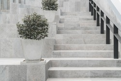 Abstract modern concrete stairs to building