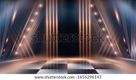 Abstract modern dark background. Dark empty scene with rays and spotlights. Night abstract blue background with golden light. Neon light, reflection.
