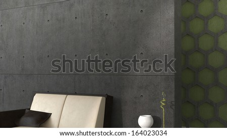 abstract modern interior with concrete wall and some furniture