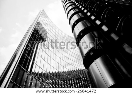 Abstract Modern Skyscraper Building in Black and White