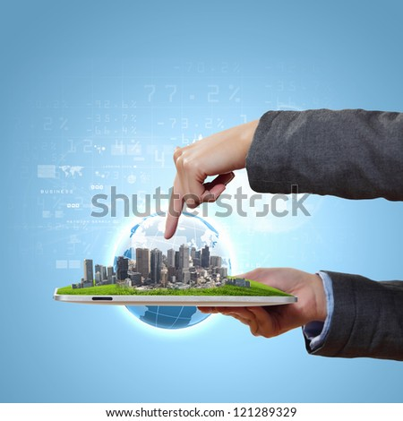 Abstract modern technological digital city illustration with a computer device