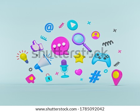 abstract modern trendy colorful social media and technology icons. 3d rendering